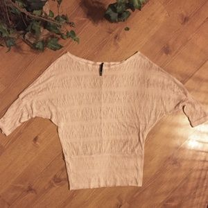 NWOT Womens Sheer Tan/Nude Sweater Top Size Medium
